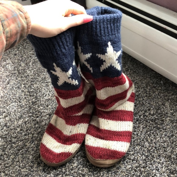 Muk Luks Shoes - red white and blue boots
